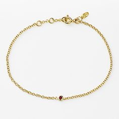 Cable Chain Bracelet in 9ct Solid Gold with Ruby Bezel: Pink LouLou