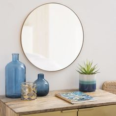 Matte Gold Round Metal Mirror D48 Warren | Maisons du Monde