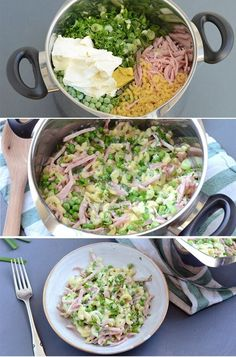 Hurtig one pot pastaret med skinke - Døgurðin - Easy Healthy Recipes, Raw Food Recipes, Lunch Recipes, Pasta Recipes, Dinner Recipes, Cooking Recipes, Pot Pasta, Dinner Is Served, One Pot Meals