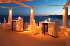 Perched on the Caldera cliffs, 100 meters above the azure waters of the Aegean, Katikies Hotel in Oia Santorini provides an experience of unparalleled romance and prestigious luxury. Katikies Hotel enjoys a magnificent location facing the sea and offering breathtaking views of the sunset.  http://www.tropolino.com/EN/Europe/Greece/South-Aegean/Santorini/Hotels/