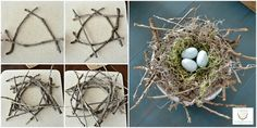 DIY Twig Bird Nest by Lilacs Longhorns Guest Post at The Everyday Home Twig Crafts, Bird Crafts, Nature Crafts, Easter Crafts, Diy And Crafts, Arts And Crafts, Bird Nest Craft, Bird Nests, Twig Art