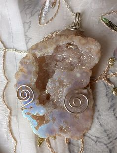Sparkling Opal Angel Aura Quartz Geode Necklace energised with Lotus Starlight Essence by StarStoneCrystals on Etsy