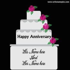 love anniversary cake with name Wedding Anniversary Cake Image, Anniversary Cake With Photo, Anniversary Wishes For Husband, Happy Anniversary Cakes, Anniversary Greeting Cards, Romantic Anniversary, Happy Birthday Wishes Cake, Birthday Cards For Friends, Birthday Cakes