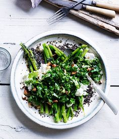 Blistered kale ribs with kale-leaf and quinoa salad   gourmet traveller