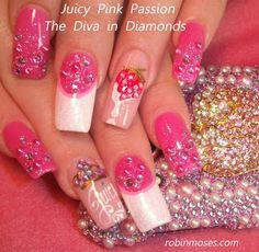 Nail-art by Robin Moses: neon nails, psychedelic nails, rainbow swirl nails, raspberry swirl, rainbow psychedelic nails, pastel nails, spring nails 2012, strawberry nails, diva nails, pink friday nails, strawberry in white chocolate nail, pink diva bling, barbie nails, pink barbie nails, diva barbie, eleganza extravaganza, juicy nails, extra long nails, pink bling nails