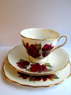 English Rose Teacup Trio tea cup vintage english tea set teacup trio floral red roses
