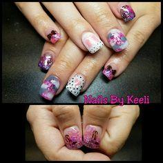 nails, pink nails, gray nails, camo nails, camouflage nails, baby girl nails, it's a girl, bows, boots, polka dot nails, bow nails