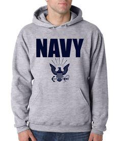 NAVY HOODIE GRAY Military Hooded Sweatshirt Blend Seal US U.S.NAVY USNAVY USA #RockCityThreads #Hoodie