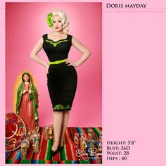 Annalise Dress - Clothing | Pinup Girl Clothing. Chartruese is a favorite shade of mine and it complimented in this day of the dead style dress.