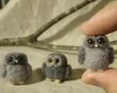 Needle Felted Owl Buddies Needle Felted by ThreeDogsandaCat