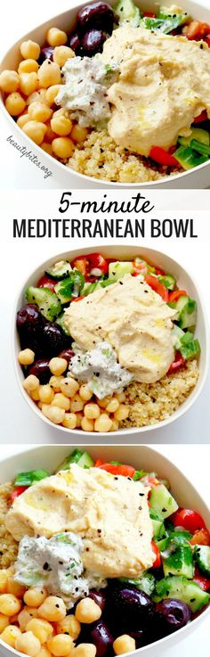 Mediterranean Bowl – Healthy Lunch Meal Prep Mediterranean Bowl - My Favorite Lunch Recipe! Try this healthy lunch recipe, it's also great to meal prep. You prepare everything and keep all parts in separate containers in the fridge (up to Lunch Meal Prep, Healthy Meal Prep, Healthy Salad Recipes, Lunch Recipes, Whole Food Recipes, Vegetarian Recipes, Healthy Eating, Cooking Recipes, Cooking Pork