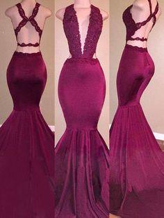 Trumpet/Mermaid V-Neck Satin Sleeveless Applique Sweep/Brush Train Dresses - Prom Dresses - Hebeos