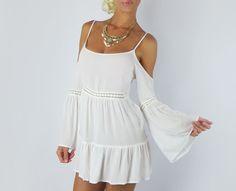 HIPPIE BOHO IVORY CROCHET BELL SLEEVE FLOWY COTTON TUNIC GYPSY PEASANT DRESS S #FashionTwenty #Tunic #Casual