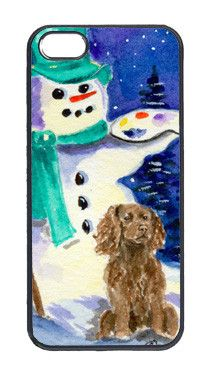 Artist Snowman with Boykin Spaniel Cell Phone Cover IPHONE 5