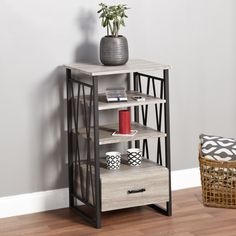 Update your living room with the stylish Seneca XX Media Pier. The strong black steel frame with grey reclaimed looking shelves will hold your components and accessories in style.
