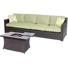 Hanover Metropolitan 3-Piece All-Weather Wicker Patio Fire Pit Seating Set with Avocado Green Cushions and Wood Grain Tile Table METRO3PCFP-GRN-A at The Home Depot - Mobile