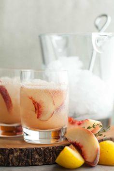 Stone Fruit Thyme Shrub Soda // This sweet/tart stone fruit and thyme shrub makes a refreshing all natural soda. // @gourmandeinthek