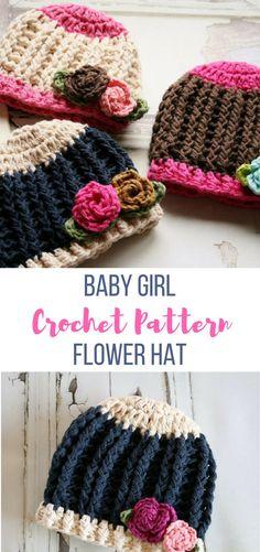 Baby Girl Crochet Hat Pattern by Ruby Webbs #babyhatcrochetpattern #crochethatpattern #babygirlcrochethatpattern #girlhatcrochet #crochethat #affiliate