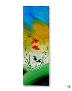 "SOLD: ""You Are My Happy"" Original Painting by Cindy Thornton #folkart #poppies #love #contemporaryart #whimsical #illustration #art #painting #flowers #landscape #cute #sketch #hosue #homes #together"