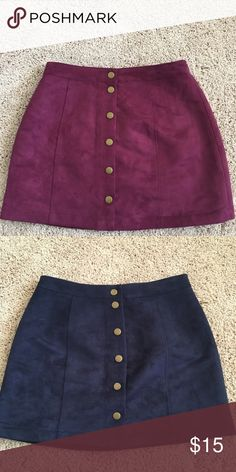 Old Navy button down suede skirts size 4 I am selling two old navy button down suede skirts. Both are size 4, one is magenta and the other is navy. They are so cute and comfortable, but I've lost some weight and never got the chance to wear them! Old Navy Skirts Mini