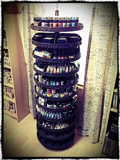 Tim Holtz's craft room spinner.....I so want one of these! I don't this for crafts. It would be perfect for nail polish :D