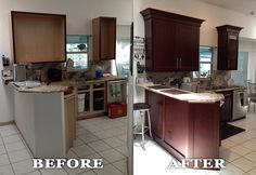 Kitchen reface project showing before & after pictures by GB Interiors. Refacing is a great way to update a kitchen for up to half the cost of a new kitchen remodel. No need to remove the cabinets or flooring.
