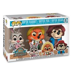 Everybody has a laughing place, and if yours is at Splash Mountain, you're sure to find this three figure Pop! Vinyl set - featuring Br'er Rabbit, Br'er Fox, and Br'er Bear - to be mighty satisfactual! Funko Pop Dolls, Funko Pop Figures, Pop Vinyl Figures, Splash Mountain, Disney Pop, Disney Parks, Disney Stuff, Funko Pop Display, Pop Toys