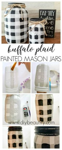 Painted Buffalo Plaid Mason Jars is part of Mason jar crafts diy - Paint your own buffalo plaid mason jars! Find my easy tutorial at www diybeautify com with the stepbystep instructions! Mason Jar Projects, Mason Jar Crafts, Mason Jar Diy, Crafts With Jars, Red Mason Jars, Rustic Mason Jars, Stick Crafts, Glass Jars, Wine Glass