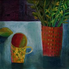 British Artist Este MacLEOD - Yellow Mug > at Red Rag Gallery > Through her art work Este MacLeod reflects on the sentiments and nostalgia surrounding the on-going process of life. She is primarily a colourist painter focusing on the concept of domesticity.