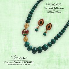 #Navratri Collection -Leaf #Green Jade #beads, focal lattice, #Antique stud @ #BigBillionDays https://www.mayasarc.com/product/heritage-green-jade-graduates/1879-1892?utm_content=bufferbb8d5&utm_medium=social&utm_source=pinterest.com&utm_campaign=buffer