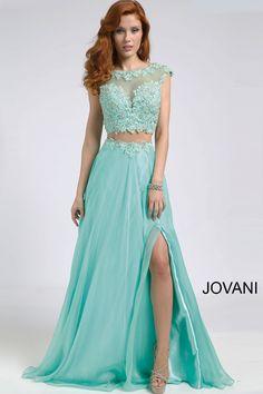 Jovani Mint Two-Piece Chiffon Dress with Open Back 98517