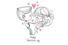 Cute girl and boy. Valentine's Day. by NatalyS on @creativemarket