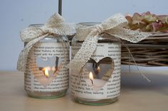 [DIY] Decoration for bookworms – booklet Fur Vintage, Diy Crafts Vintage, Vintage Table Decorations, Outdoor Wedding Decorations, Diy Candles, Candle Jars, Create Picture, Deco Table, Mason Jar Crafts