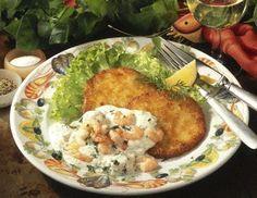 Knusprige Kartoffelpuffer mit Knoblauch-Garnelen