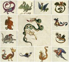 Medieval maps and bestiary tiles. Dragons, cats, dogs, sea monsters and star maps. Book of Hours, too. Medieval Dragon, Medieval Art, Medieval Manuscript, Illuminated Manuscript, Illustrations, Illustration Art, Medieval Drawings, Art Chinois, Medieval Tapestry