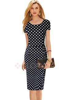 Dresses - $34.27 - Cotton Polyester Polka Dot Short Sleeve Knee-Length Elegant Dresses (1955100197)