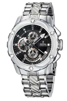FREE & FAST US SHIPPING. Festina F16381/6 Men's Watch Chrono Bike Black Dial Stainless Steel.