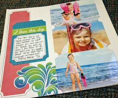 """A bright, beachy-themed scrapbook layout featuring the new 2-way Corner Rounder and Strut Your Stuff collection. Layer """"corner chomped"""" papers, photos and trimmed embellishments from the Slide-In Packs for a great page that pops! #Creative Memories http://www.creativememories.com/user/lanitamedina"""