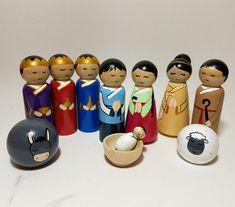 Korean Peg Doll Nativity Set, Hand Painted Wooden Nativity Figurines, Unique International Nativity