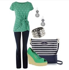 Casual Fashion Over 40 Goes Chic | Fabulous After 40 | Classic, dark wash bootcut jean, tie waist top, striped purse, grass green canvas espadrilles or flats,  fun studded stretch cuff bracelet and circle stone double drop earrings