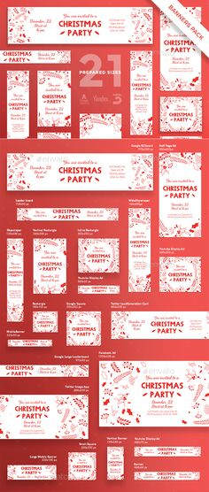 Christmas Party Banner Template PSD, Vector EPS Pack #design #ad #xmas