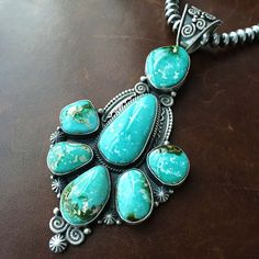 Authentic turquoise jewelry online only at toqos.com! Be the first to see 7 Stone Statement...: http://toqos.com/products/7-stone-statement-royston-turquoise-necklace-handmade-and-signed-m-and-r?utm_campaign=social_autopilot&utm_source=pin&utm_medium=pin