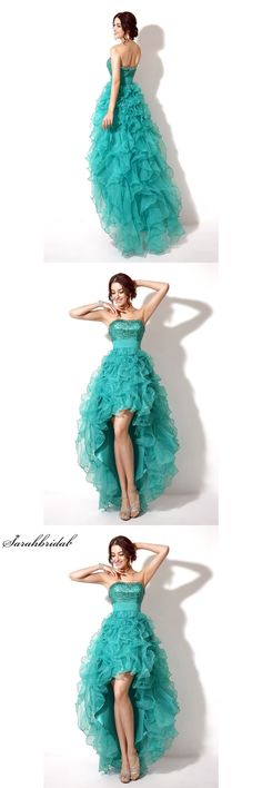 In Stock Asymmetrical Short Prom Dress Ruffles Peacock Sequined Crystal Graduation Dress Peacock Vestido De Formatura TZ006
