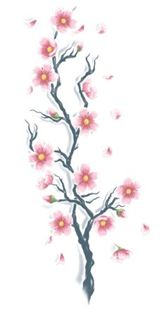 Our Cherry Blossom XL Tattoo is beautiful and elegant. this piece looks great as a back tattoo or down your side