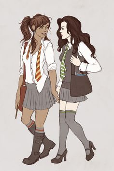 """Korra and Asami. Magical friends."" But WHY is Asami in Slytherin? If anyone deserves to be a Gryffindor, it's the woman who stood up to her FATHER to protect her beliefs ""It takes a great deal of courage to stand up to our enemies, but a great deal more to stand up to our friends"""