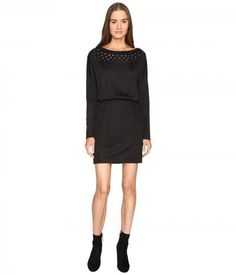 Just Cavalli - Jersey Boat Neck Long Sleeve Dress (Black) Women's Dress