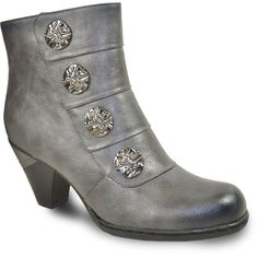 VANGELO Women Boot SD6401 Ankle Dress Boot Grey Dress With Boots, Metal Buttons, Heeled Boots, Footwear, Booty, Ankle, Luxury, Grey, Heels