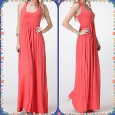 Racerback Coral Maxi Dress A gorgeous find- a racerback tank maxi dress in a lovely coral color. Size small and true to size, not really my style. Brand new with tags. Dresses Maxi