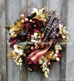 Americana Harvest Wreath with Tea Stained Flags ~A New England Wreath Company Designer Original~