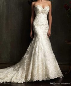 Wholesale Mermaid Wedding Dresses - Buy 2014 Sexy V-Neck Mermaid Wedding Dresses White Applique Lace Bridal Dress Gown Wedding Gown M10 Size...